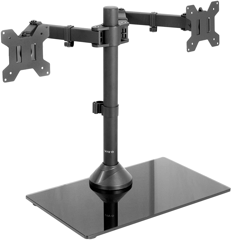 VIVO Freestanding Black Dual Monitor Stand (STAND-V002FG)