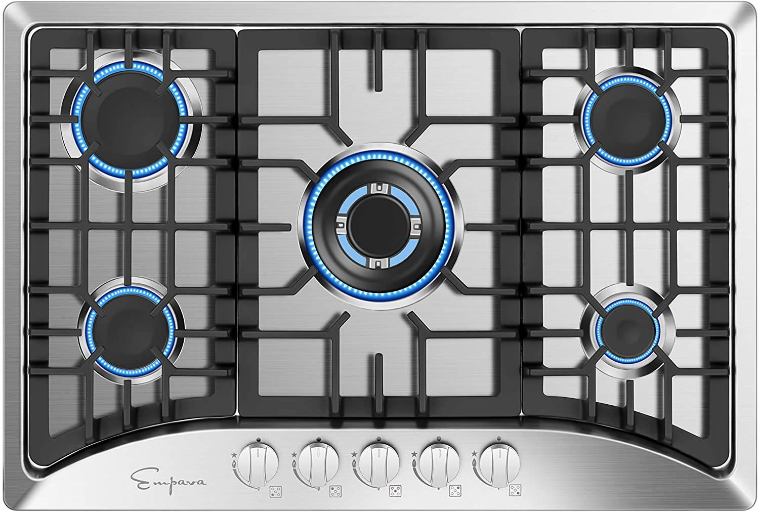 Empava 30 inch Gas Stove Cooktop, Silver