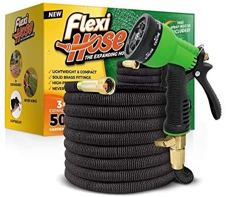 Flexi Hose with 8 Function Nozzles, (50 FT, Black)