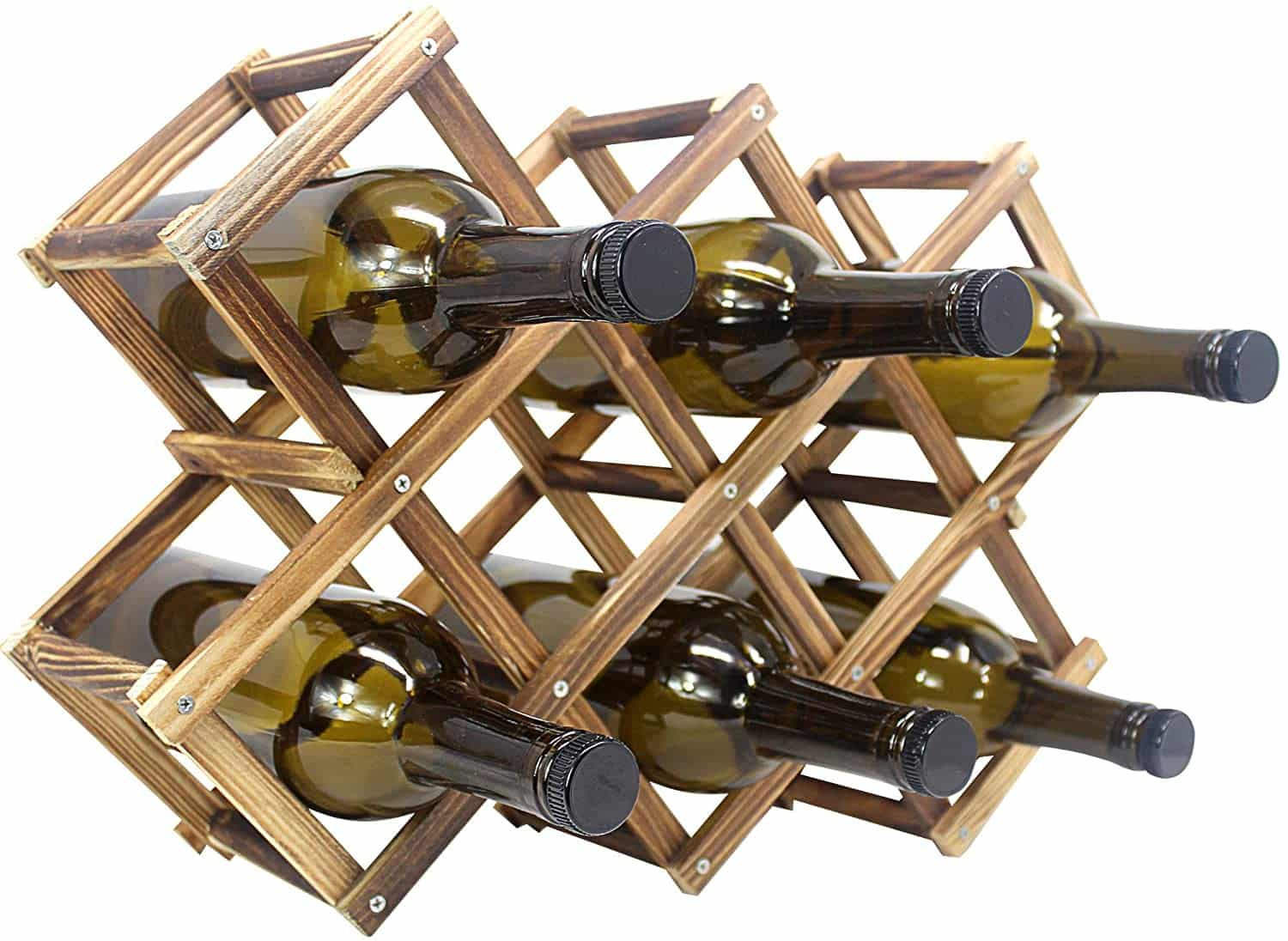 Foldable Wooden Wine Bottle Holder and Storage rack
