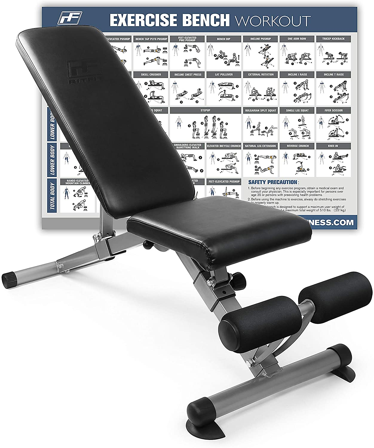 RitFit Adjustable & Foldable Utility Weight Bench