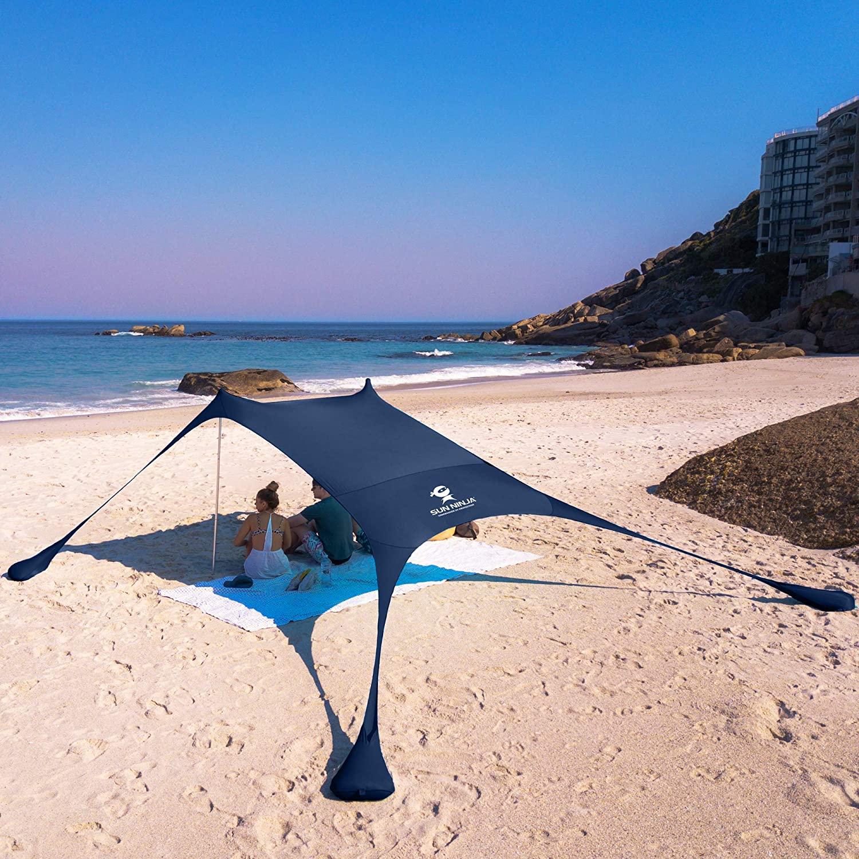 SUN NINJA Pop Up Beach Tent, (Pole, Navy)