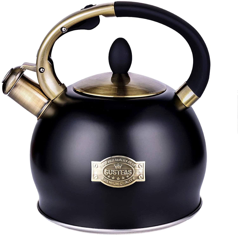 SUSTEAS Stove Top Whistling Tea Kettle, (BLACK)