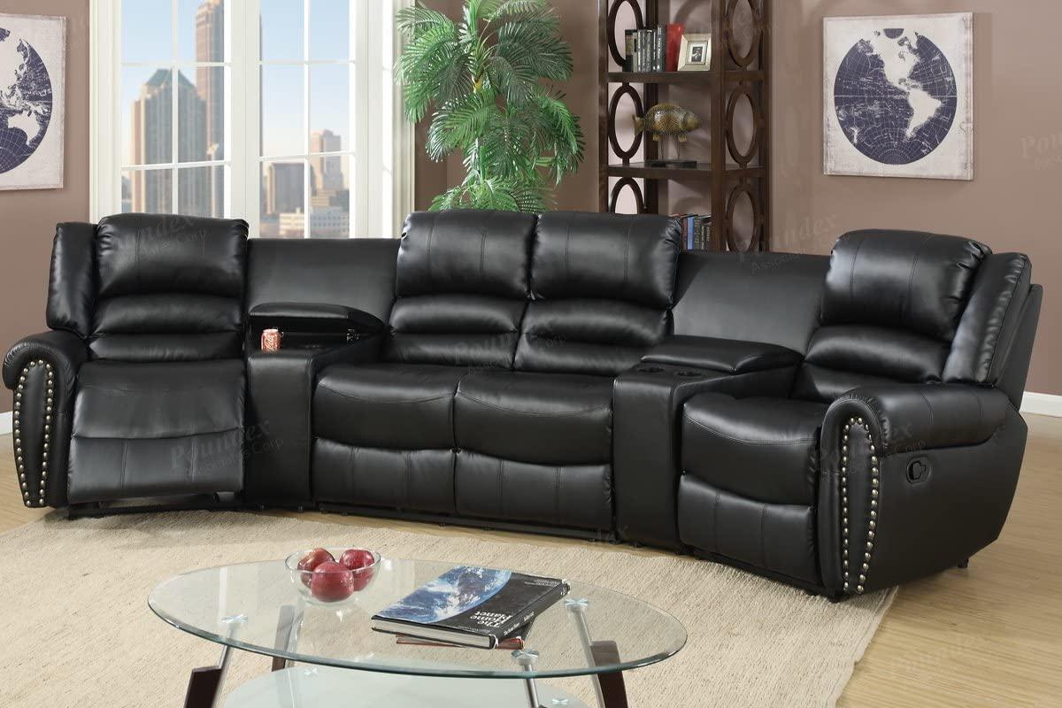 5pcs Bonded Leather Reclining Sofa Set by MMIZOO