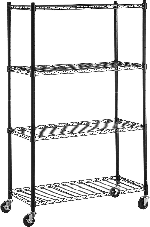 AmazonBasics 4-Shelf Shelving Storage Unit on 3 inch Wheel Casters