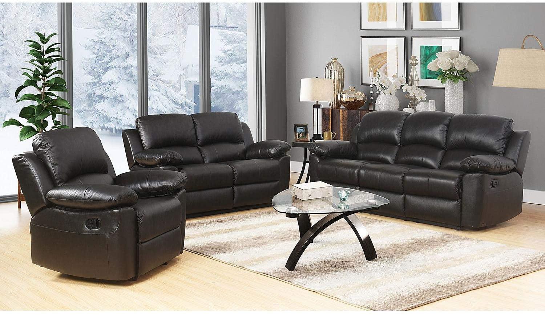 Evaxo Top-Grain Leather Reclining Sofa