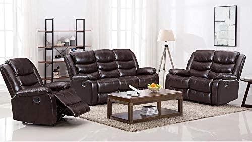Hollywood Decor Hamar 3Pcs Reclining Sofa Set