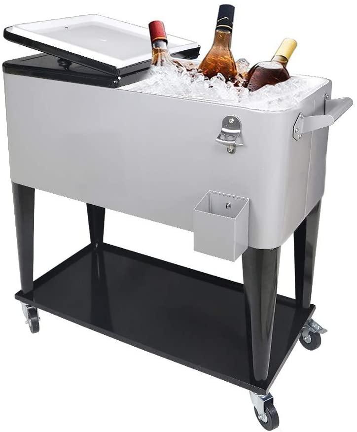 Nattork 80 Quart Rolling Cooler Cart