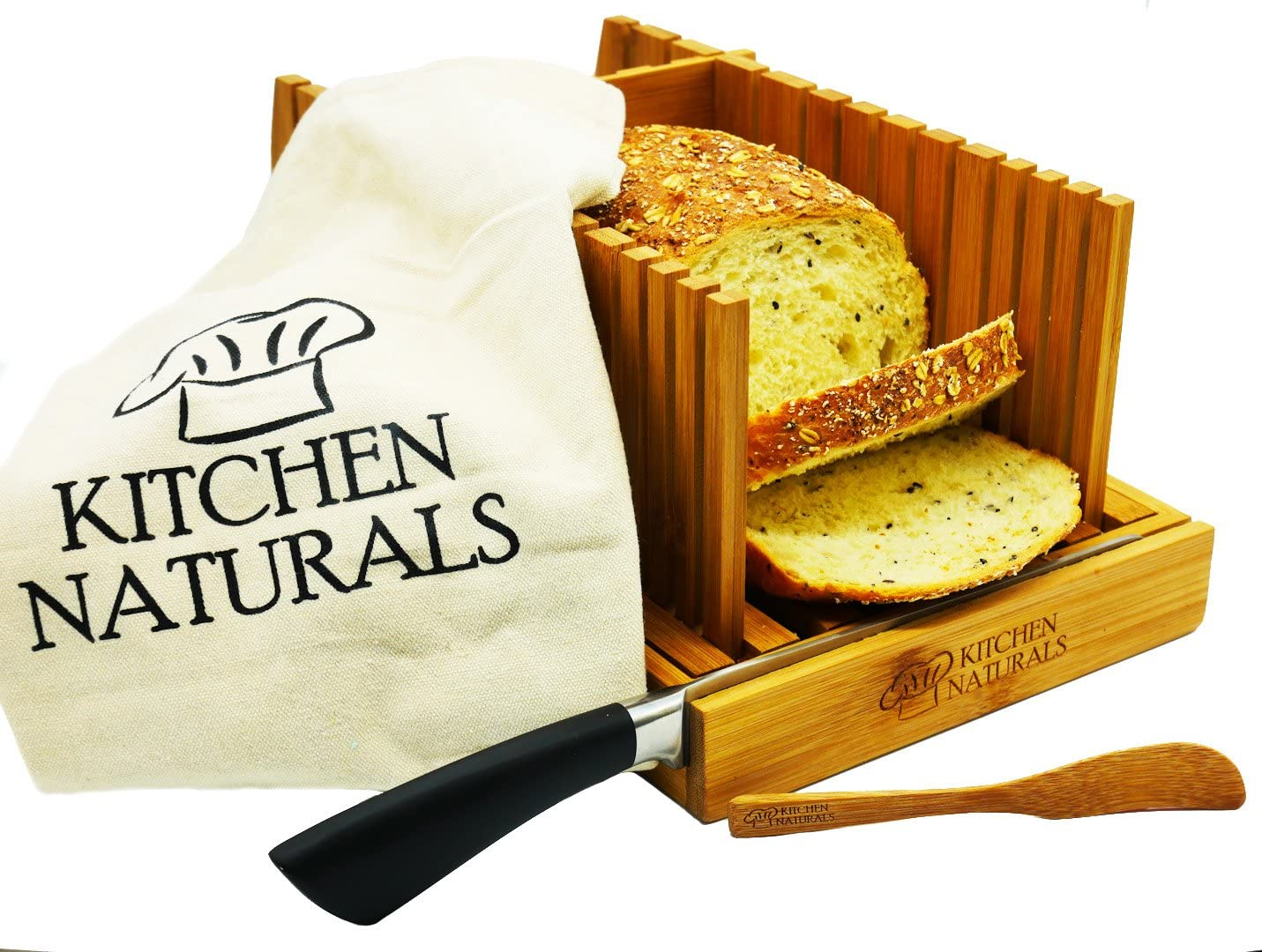 Premium Bamboo Foldable Bread Slicer by KITCHEN NATURALS