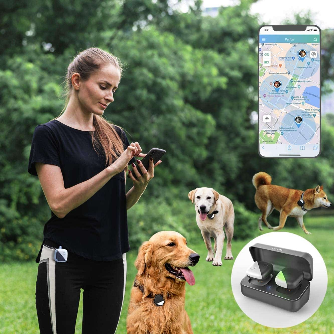 Pet GPS Tracker for 1-3 Dogs by PETFON