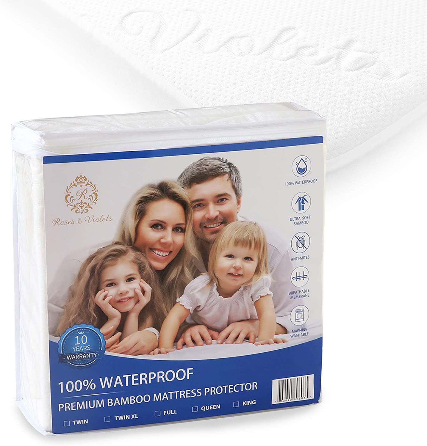 Roses and Violets Full Mattress Waterproof Bed Cover
