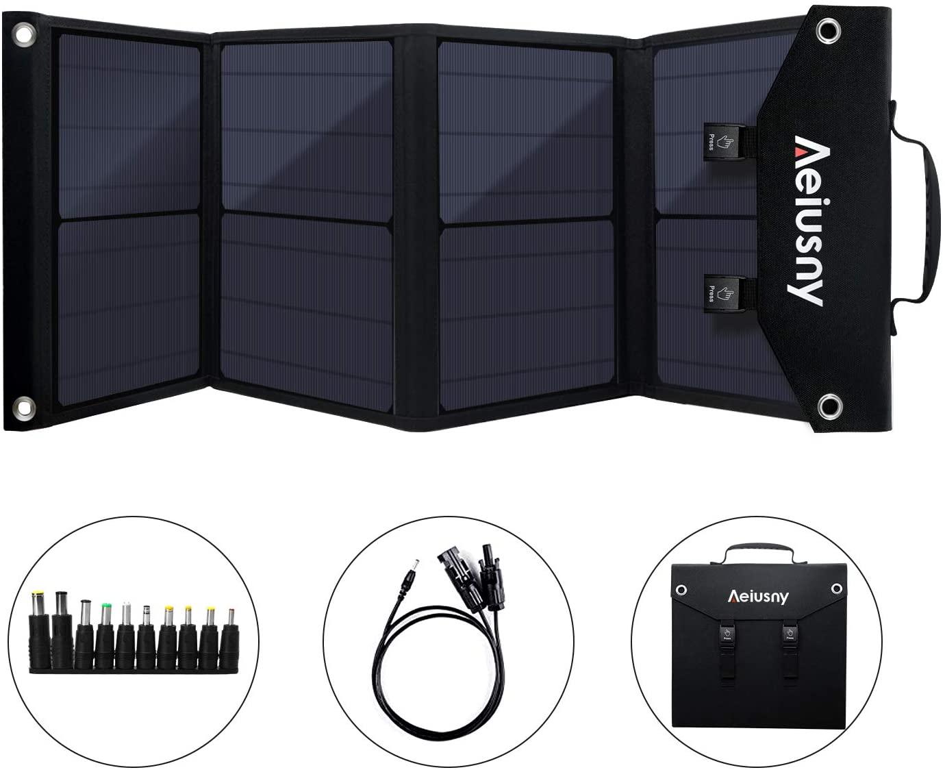 Aeiusny 60W Foldable Portable Solar Charger