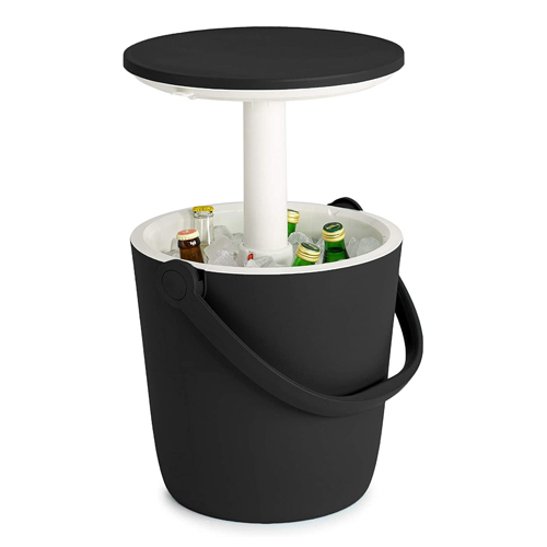 Keter Go Bar 4.2 Gallon Beer and Wine Cooler with Handle and Pop-Up Outdoor Table
