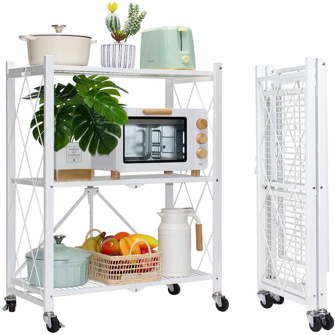 MSSOHKAN 3-Tier Foldable Storage Shelves