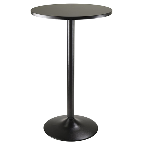 Winsome Obsidian Pub Table Round Black MDF Top