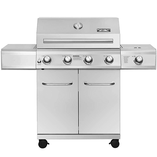 Monument Grills 25392 4-Burner Propane Gas Grill in Stainless Steel with LED Controls & Side Burner