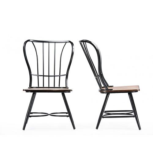 Baxton Studio Longford Dark-Walnut Wood and Black Metallic Dining Chairs