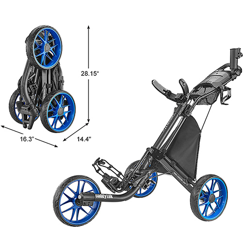 CaddyTek 3 Wheel Golf Push Cart
