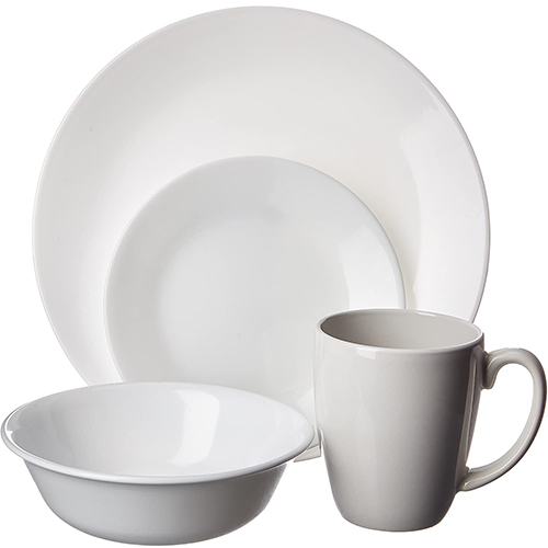Corelle Livingware 16-Piece Dinnerware Set, Winter Frost White, Service for 4 Dinnerware set