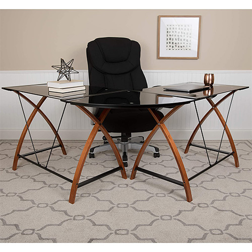 Flash Furniture Black Glass L-Shape Computer Desk