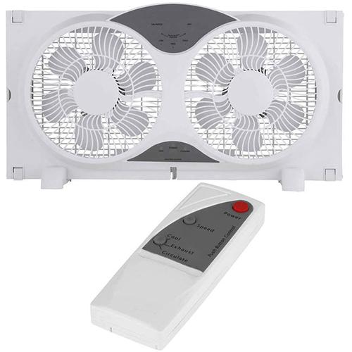 JOEY'Z 9-inch 3 Speed Twin Window Fan with Remote