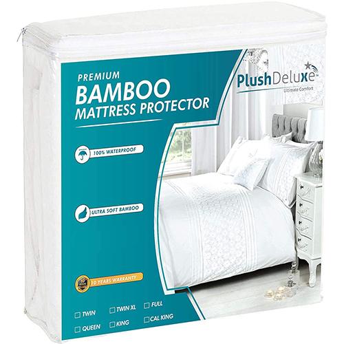PlushDeluxe Premium Bamboo Mattress Protector