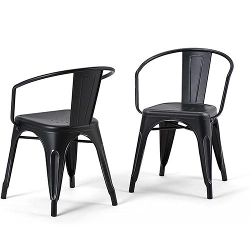 SIMPLIHOME Larkin Industrial Metallic Dining Chairs