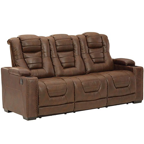 Signature Design by Ashley Owner's Box Faux Leather Power Reclining Sofa