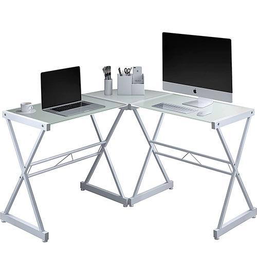 Techni Mobili L-Shaped Glass Computer Desk