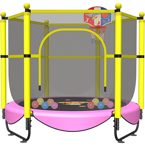 VGMiu 60-inches Indoor Trampoline for Kids, (With Basketball Hoop)