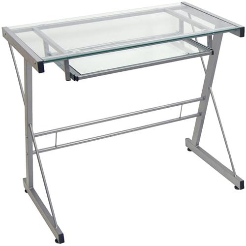 Walker Edison Modern Metal and Glass Desk